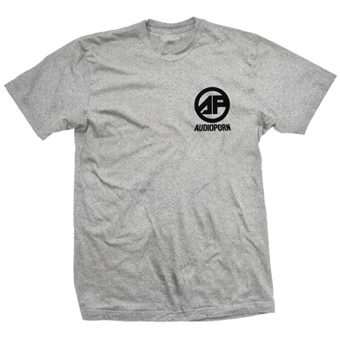 Audioporn Black Logo Grey T-Shirt artwork