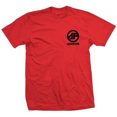 Audioporn Black Logo Red T-Shirt artwork