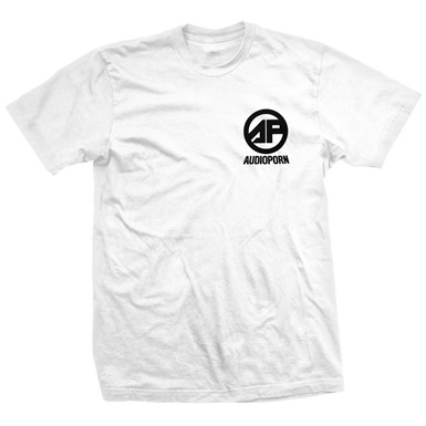 Audioporn Black Logo White T-Shirt artwork