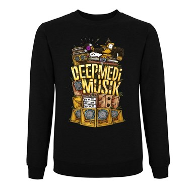 Original Deep Medi Stack Logo Sweatshirt (Colour on Black) artwork
