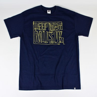 Deep Medi Line Logo Tee [Yellow on Navy] artwork