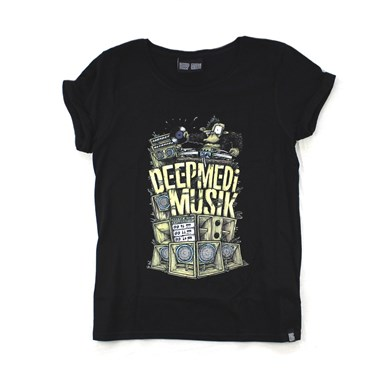 Deep Medi Original Stack Logo - Women's Roll Sleeve Tee (Colour on Black) artwork