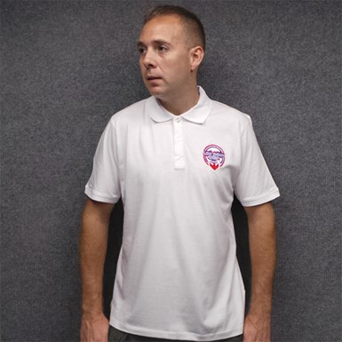 Official Low Down Deep Embroidered Polo Shirt [White] artwork
