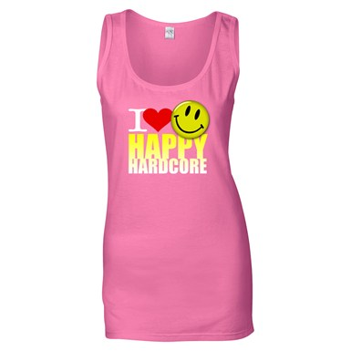 I Love Happy Hardcore - Colour Logo - Ladies [Pink Vest] artwork